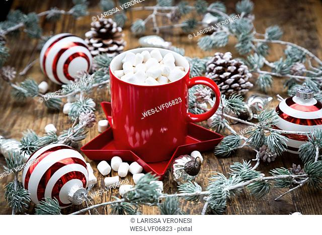 Cup of Hot Chocolate with marshmellows and Christmas decoration