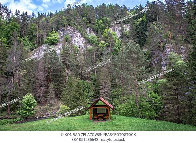 Tourist shelter near Letanovsky mlyn in Slovak Paradise National Park, north part of Slovak Ore Mountains in Slovakia