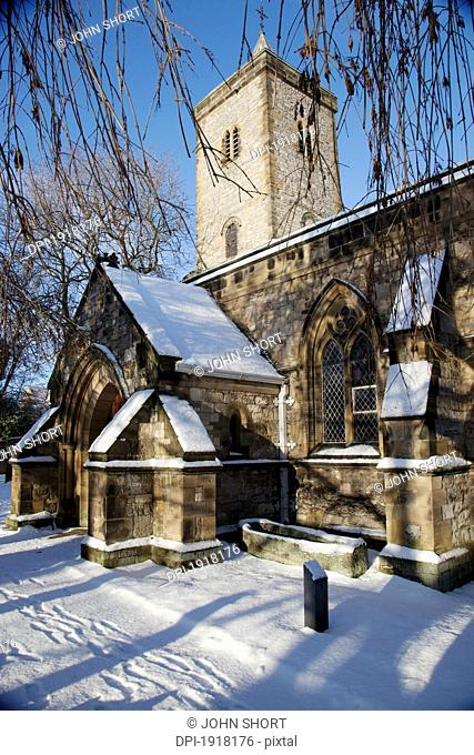 exterior of church in winter, whitburn, tyne and wear, england