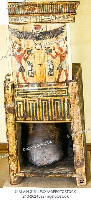 Egypt, Middle Egypt, Museum of Mallawi, photos taken in 2009, before its looting in 2013. A small naos, with Darius cartouches