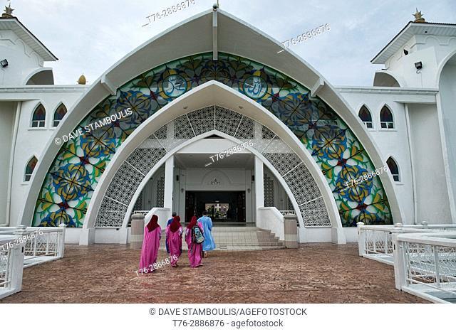 Call to prayer, Malacca Straits Mosque (Masjid Selat Melaka), Malacca, Malaysia
