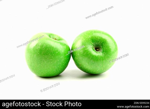 Granny Smith of apple from low perspective