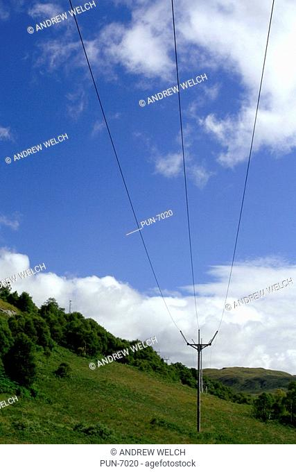 Cables and pylons carrying electricity across the Mamore mountains above Kinlochleven
