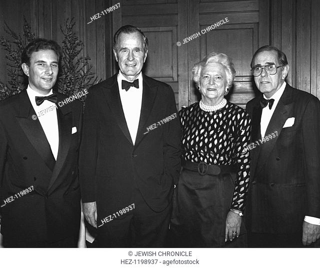 George Bush Senior at Jewish dinner, 1993. George Bush (born 1924), and his wife Barbara (born 1925), at a JIA dinner. Bush was president of the United States...
