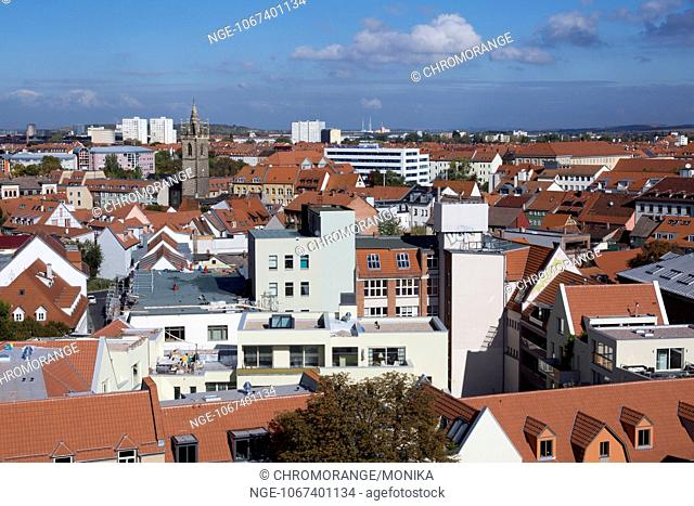 View from the tower of the Aegidienkirche Church of St Aegidius across Erfurt, in the background the Johannes tower, Erfurt, Thuringia, Germany, Europe