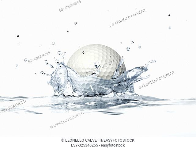White golf ball splashing into water, forming a crown splash. On white background, with depth of field. 3 D digital rendering