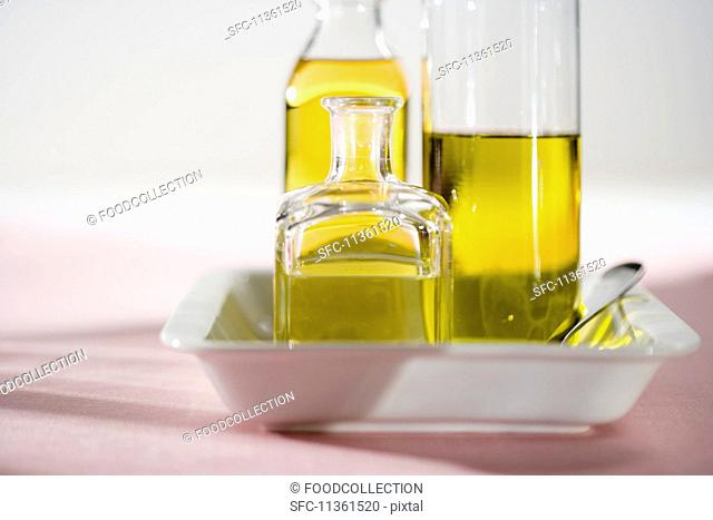 Various bottles of olive oil