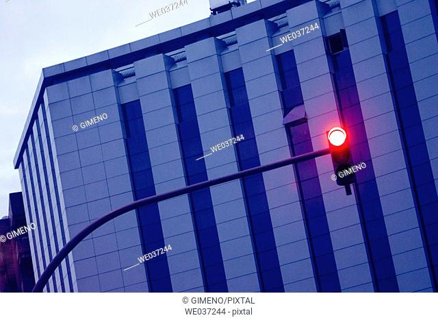 Building and red light