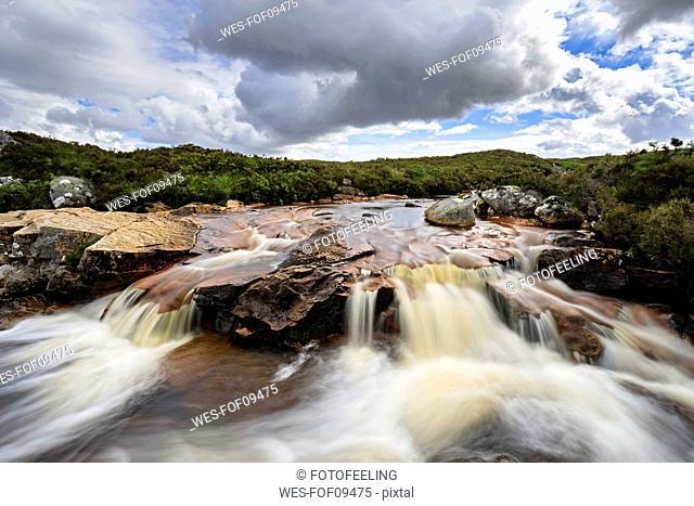 Great Britain, Scotland, Scottish Highlands, Rannoch Moor, Glencoe, Cauldon Waterfall
