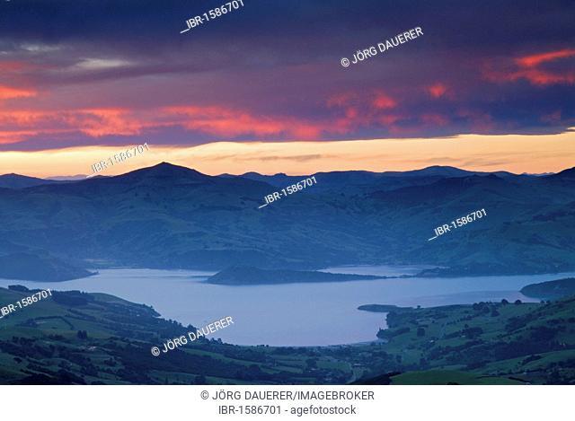 Sunset above Akaroa Harbor, Banks Peninsula, Canterbury region, South Island, New Zealand