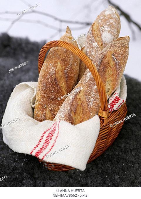 Fresh bread in basket