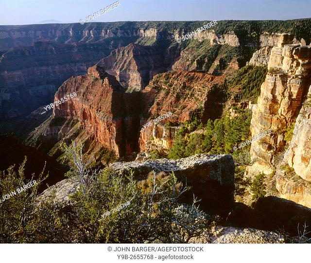 USA, Arizona, Grand Canyon National Park, North Rim, View south from Point Imperial towards canyon depths and flat topped Walhalla Plateau
