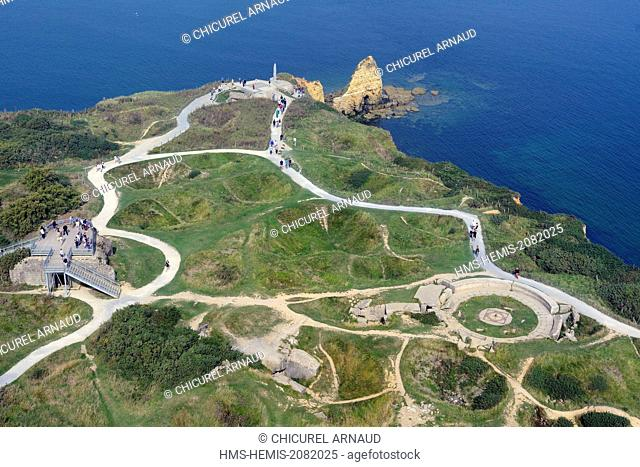 France, Calvados, Cricqueville en Bessin, pointe du Hoc, high place of the D Day (aerial view)