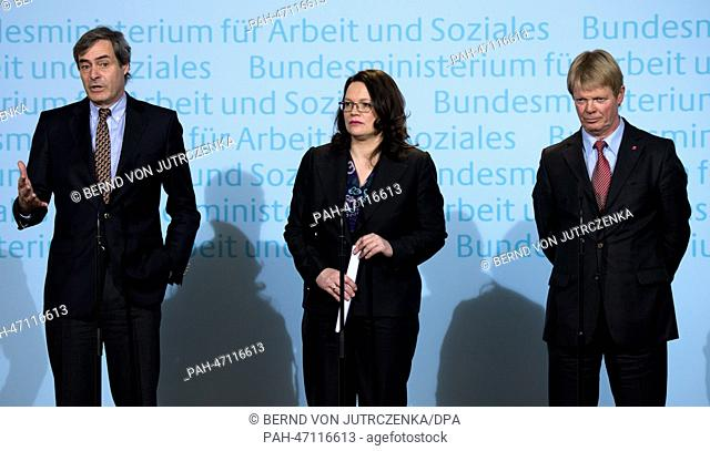German Labour Minister Andrea Nahles (C), President of the Confederation of German Employers' Associations (BDA) Ingo Kramer (L) and representative of the...