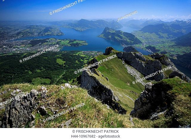 Alps, view, view from Pilatus, mountain, mountain panorama, mountains, body of water, water, Lucerne, Luzern, panorama, Pilatus, Rigi, Switzerland, Swiss Alps