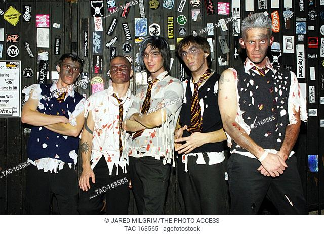 """Spike Belcher, Thomas Gallmeier, Sergio Alva, JB """"""""Buster"""""""" Aletky, Kelly Kidd of the Messies backstage at the Key Club in Hollywood"""