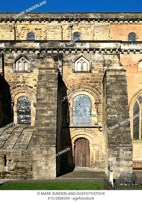 Norman Doorway in the Abbey Nave at Dunfermline Abbey and Palace Dunfermline Fife Scotland