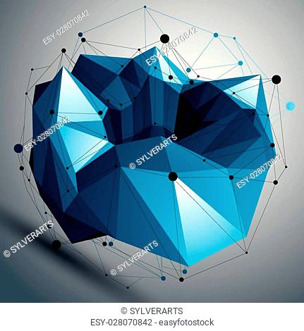 Spatial vector colorful digital object isolated, 3d technology figure with geometric elements