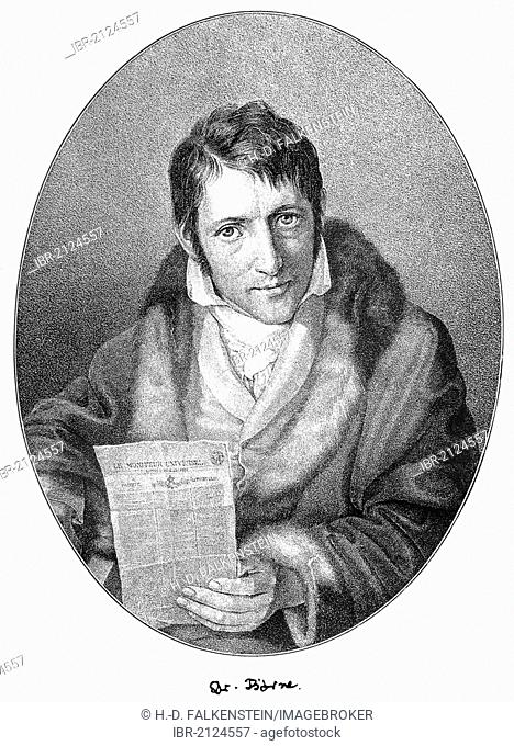 Historical print, portrait of Carl Ludwig Boerne or Juda Loeb Baruch, 1786 - 1837, a German journalist, literary and theater critic