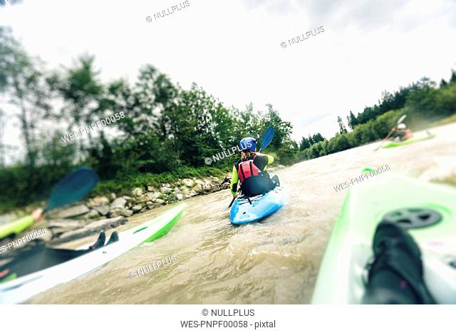 Germany, Bavaria, Allgaeu, kayakers on river Iller