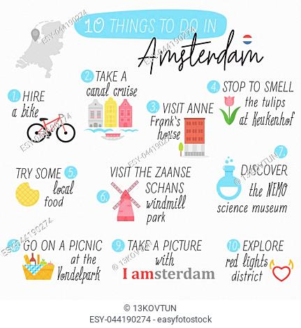 Amsterdam. Travel guide. To do list. Things to do in Amsterdam. Travel Amsterdam.Vector illustration