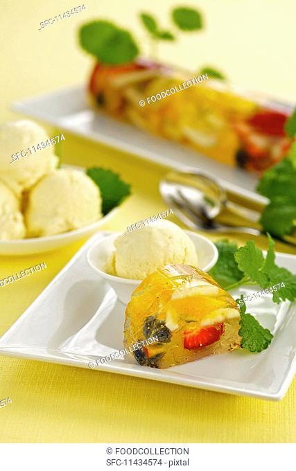 Creamy rhubarb ice cream and fruit jelly
