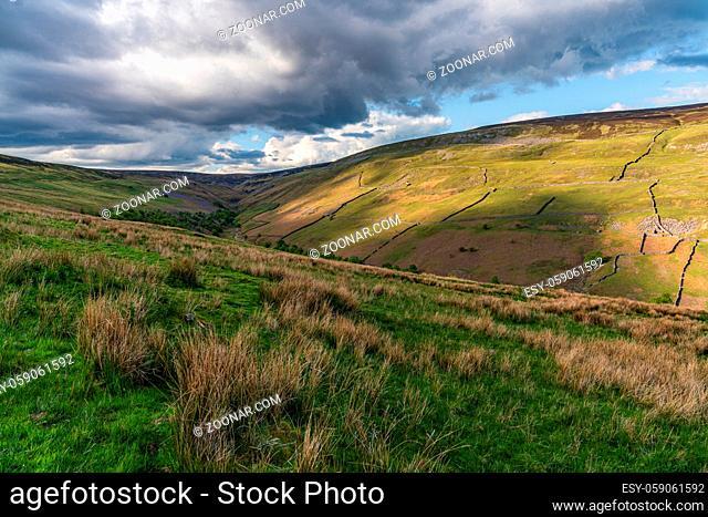 Yorkshire Dales landscape at the Gunnerside Gill, North Yorkshire, England, UK