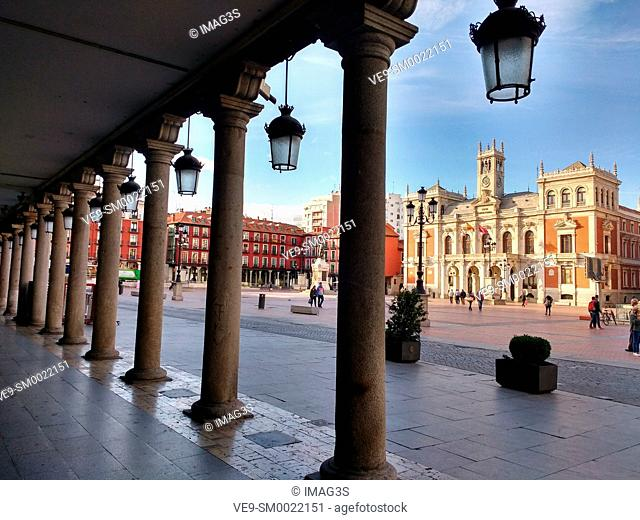 Town Hall at Plaza Mayor Square, Valladolid, Castilla y Leon, Spain