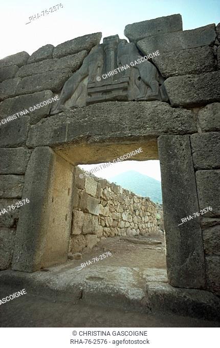 Lion Gate, Mycenae, UNESCO World Heritage Site, Greece, Europe