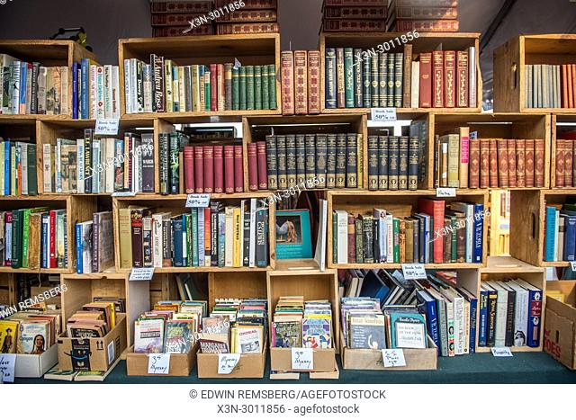 Book shelf displaying numerous novels for sale, Baltimore, Maryland. USA