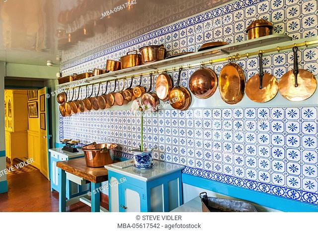 France, Normandy, Giverny, Monets Garden, Monet's House, The Kitchen