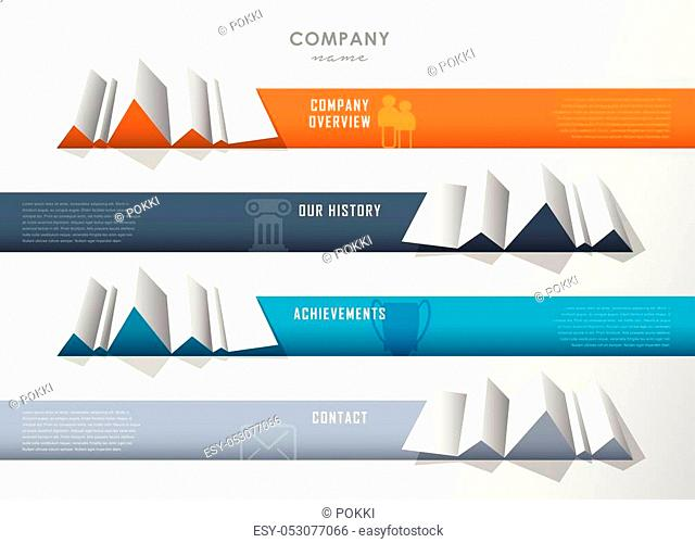 Company infographic overview design template with four paper stripes and icons