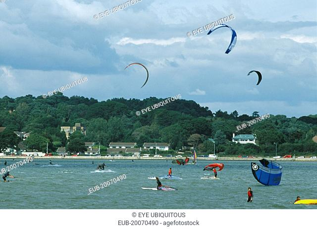 Poole Harbour. Kite Surfing