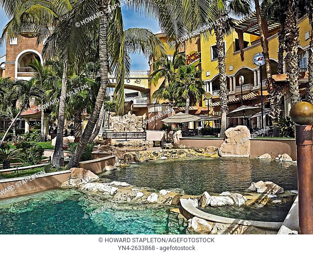 Pond and plaza at a commercial complex in Cabo San Lucas, Baja California, Mexico