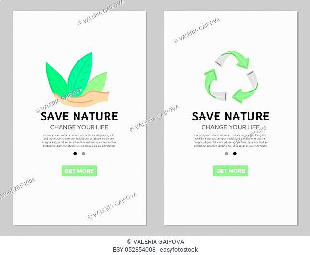 Mobile templates. Zero waste concept. App. Green symbols. Banner, flyer, brochure, advertising, label. Vector, eps10