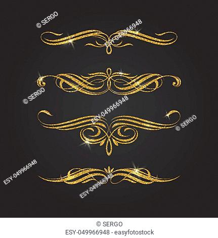 Glitter gold flourishes vector design elements