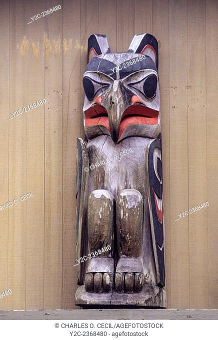 Ketchikan, Alaska. Totem (an eagle) at the Totem Heritage Center