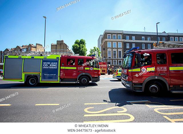 Scene of fire on 12th floor flat in Grafton House, Wellington Way, Bow, East London. Featuring: Atmosphere, View Where: London, England