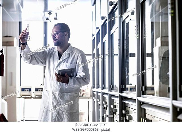 Chemist with Erlenmeyer flask controlling chemical test in a laboratory