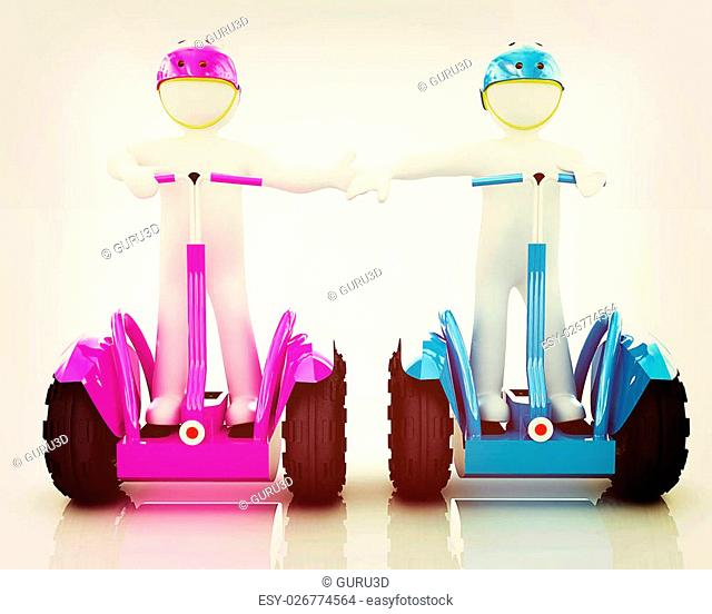 3d people in riding on a personal and ecological transport in helmet and holding hands. Concept of partnership. 3D illustration. Vintage style