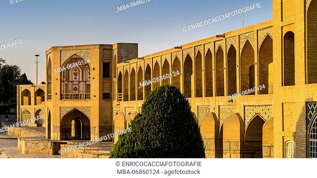 Khaju Bridge in Isfahan, warm evening light
