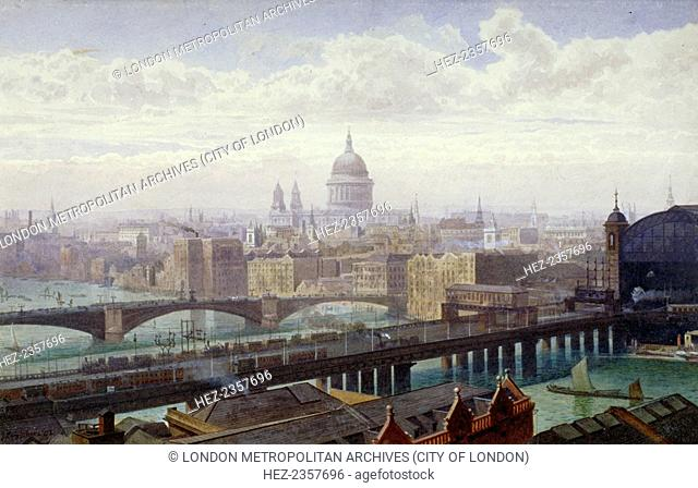 Cannon Street Railway Bridge and Southwark Bridge, London, 1892. View from the tower of St Saviour's Church, Southwark (later Southwark Cathedral)