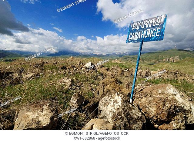 lonesome waysign at Zorats Karer, 6000 B.C. stoneage observatory of Karahunj, Cara Hunge, Armenia, Asia