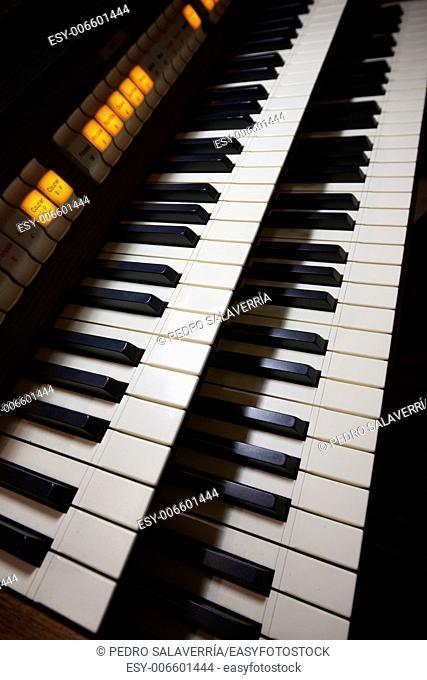 keyboard closeup of a church organ