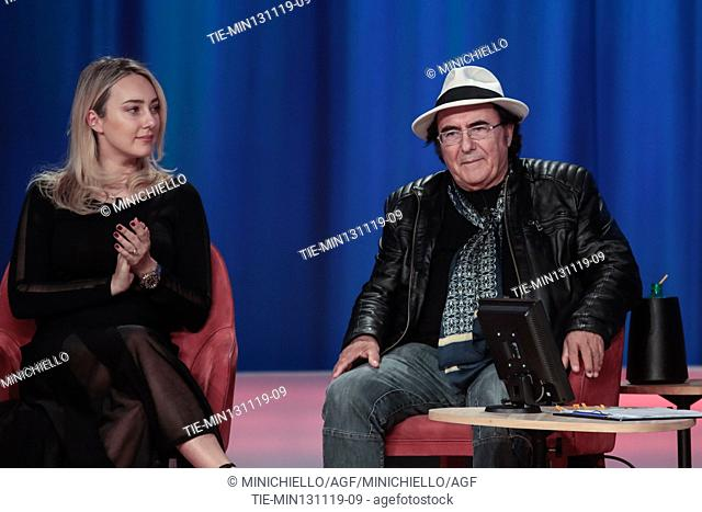 Singer Albano Carrisi and his doughter Cristel during the recording of Canale 5 tv program 'Maurizio Costanzo Show', in Rome, Italy, 12 November 2019
