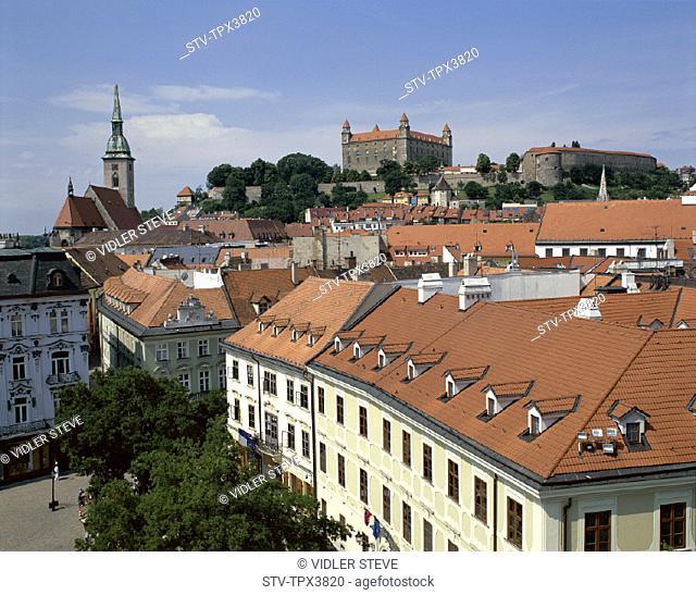 Bratislavia, Castle, City, Holiday, Landmark, Old, Rooftops, Slovakia, Europe, Tourism, Travel, Vacation