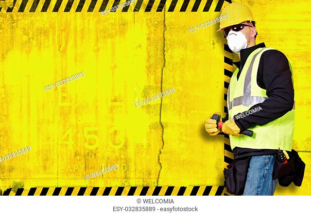 Construction Background with Contractor on Right Side. Large Left Side Copy Space on Grundy Yellow Construction Background