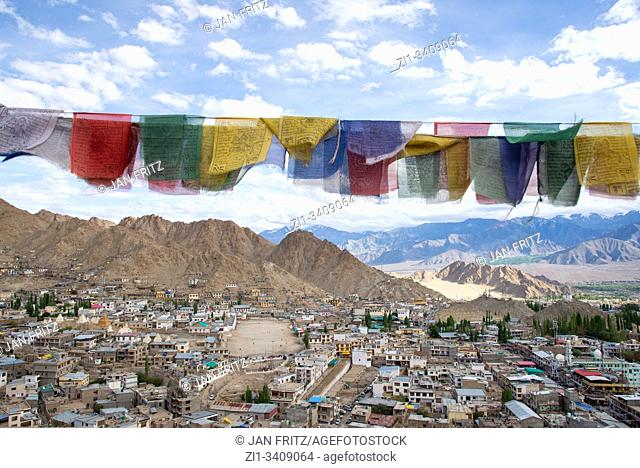 view at Leh with prayer flags, Ladakh, India from old Palace at top of hill