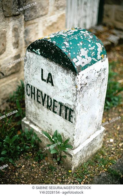 Road boundary La Chevrette in a street of Barbizon. Ile-de-France. Seine-et-Marne. France. Europe