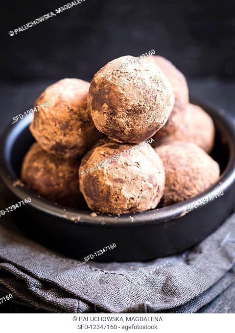 A bowl of homemade DIY energy protein balls